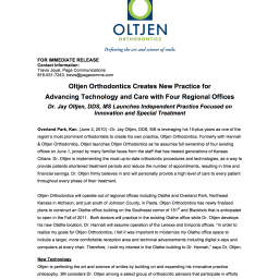 Dr.-Oltjen-Press-Release-Oltjen-Launches-New-Practice-256x256  - Braces and Invisalign in Kansas City, Overland Park, Olathe, and Paola, Kansas - Oltjen Orthodontics
