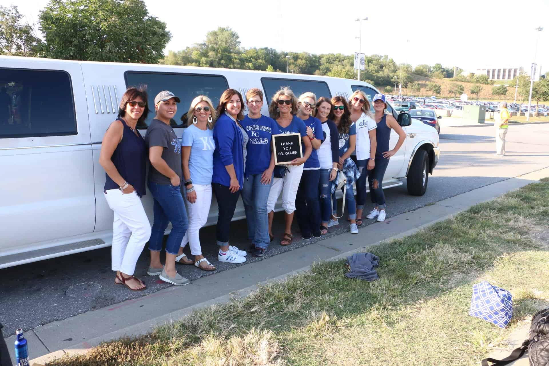 Group-limo-at-royals  - Braces and Invisalign in Kansas City, Overland Park, Olathe, and Paola, Kansas - Oltjen Orthodontics