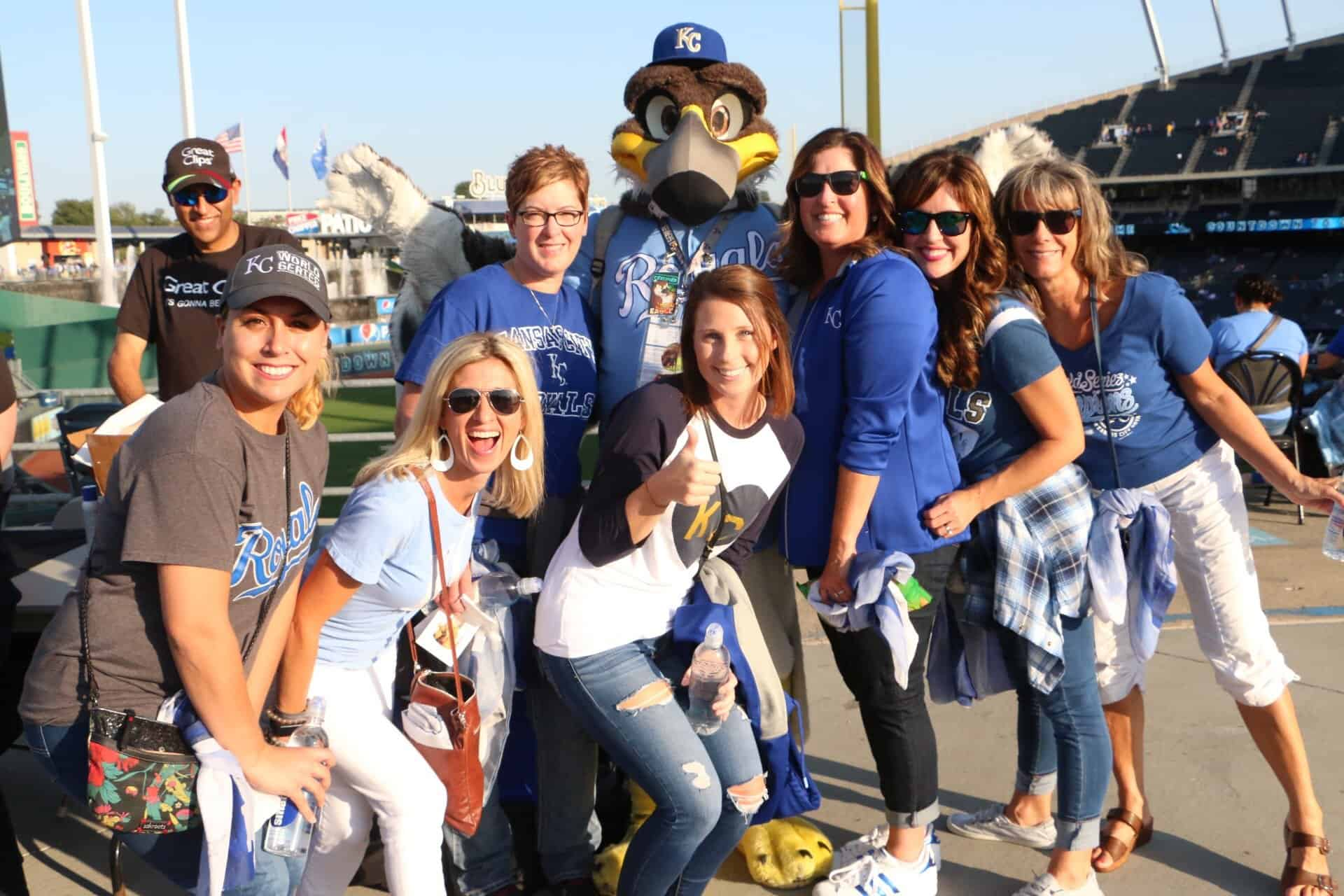 group-with-mascot-royals  - Braces and Invisalign in Kansas City, Overland Park, Olathe, and Paola, Kansas - Oltjen Orthodontics