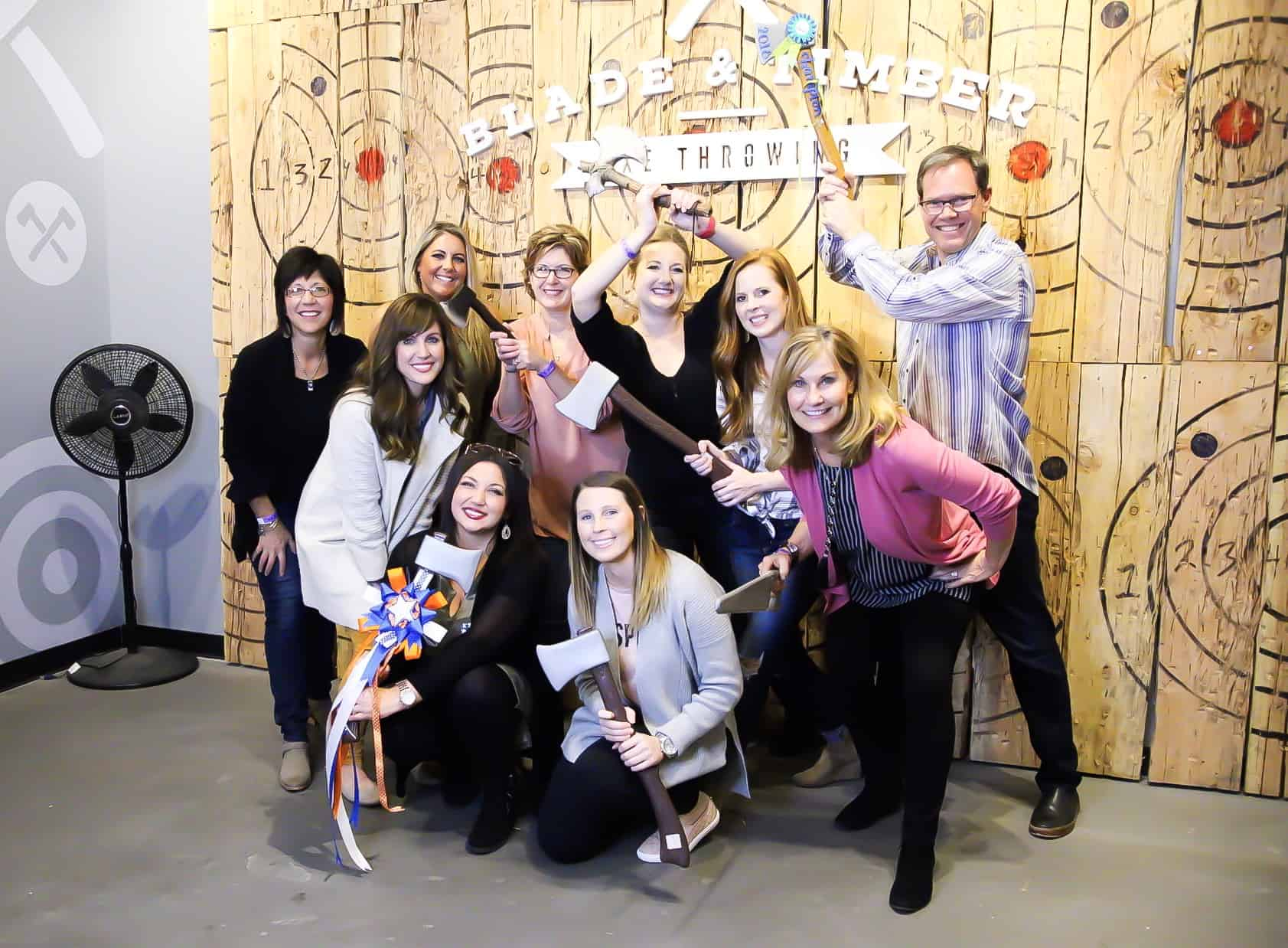 team-ax-throwing  - Braces and Invisalign in Kansas City, Overland Park, Olathe, and Paola, Kansas - Oltjen Orthodontics